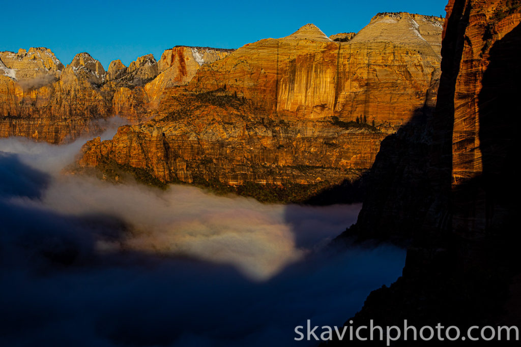 misty sunrise in zion national park