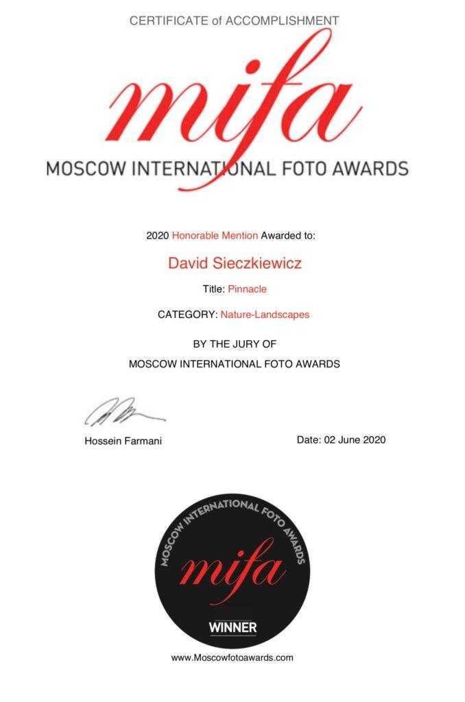 photography award certificate