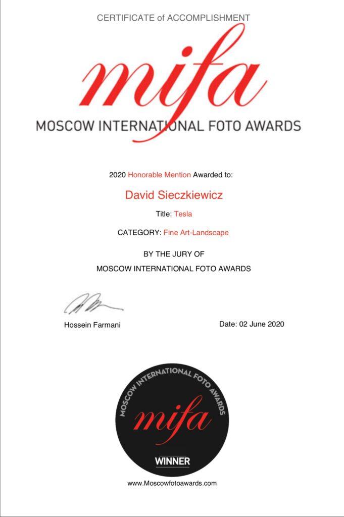 international photography awards certificate
