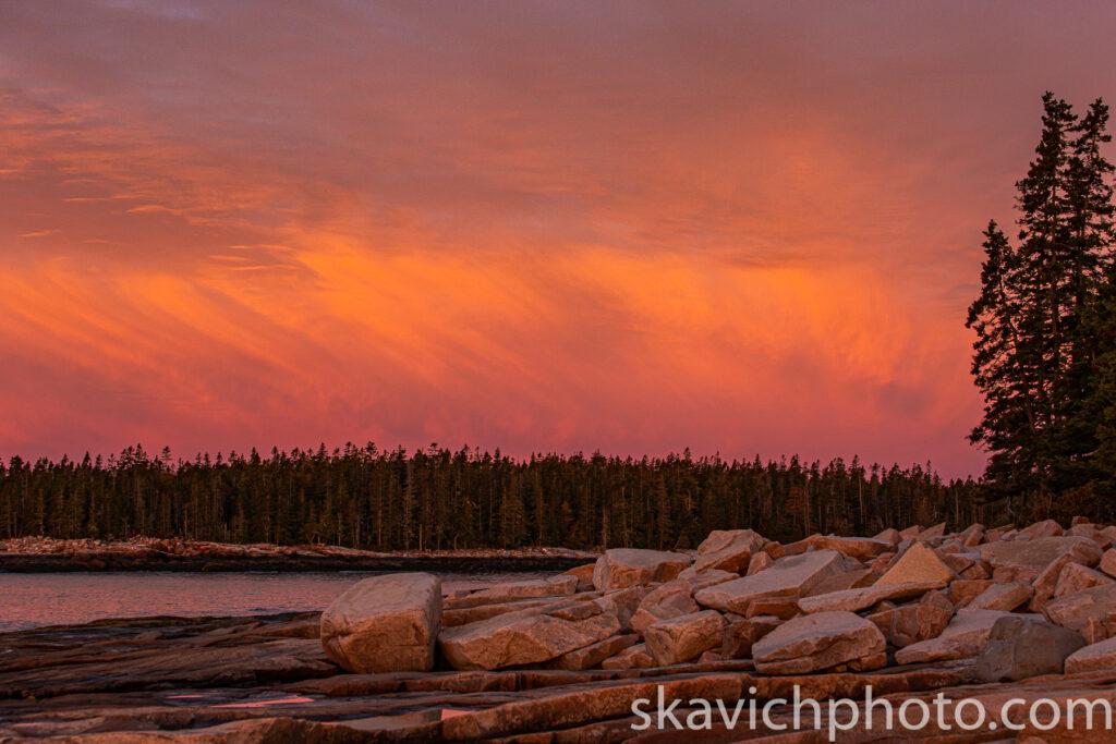 Sunset photography Acadia national park Maine